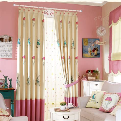 Pink And Beige Curtains Decor Sweet Pink Beige House Patterned Polyester Curtains
