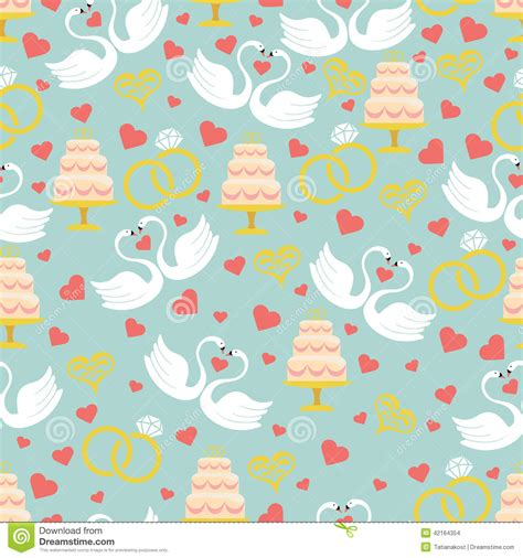 cake background pattern vector vintage wedding seamless pattern set hearts swans cake