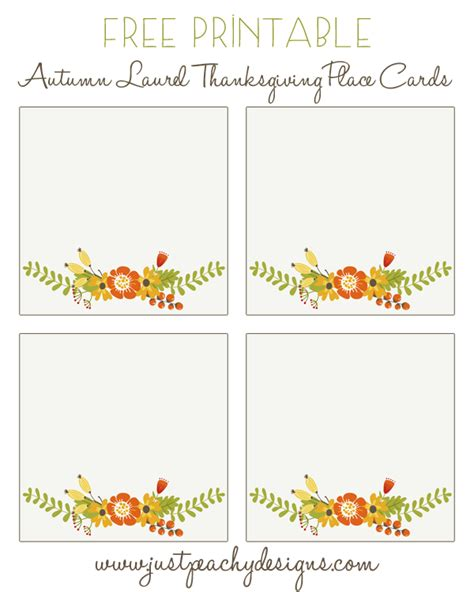 Table Place Cards Template Thanksgiving by Just Peachy Designs Free Printable Thanksgiving Place Cards