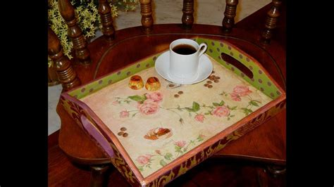Unfinished Wooden Trays For Decoupage Decoration - how to decoupage and vintage an unfinished wood tray