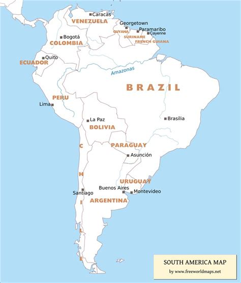 south america map capital cities free pdf maps of south america