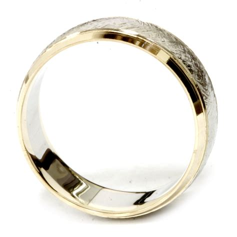 14k yellow gold two tone wedding band mens 8mm white gold