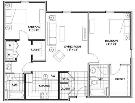 apartments floor plans 2 bedrooms apartment sq ft square