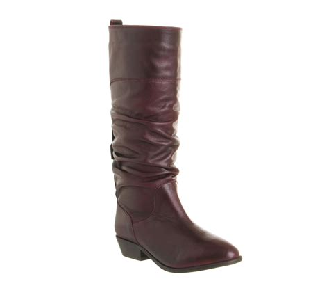 burgundy leather boots womens office ace slouch boot burgundy leather boots ebay