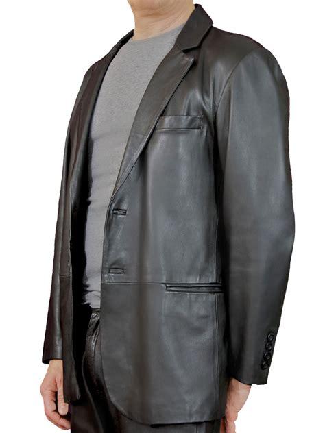 Vest Blazer Black mens smart soft black leather jacket blazer tout ensemble