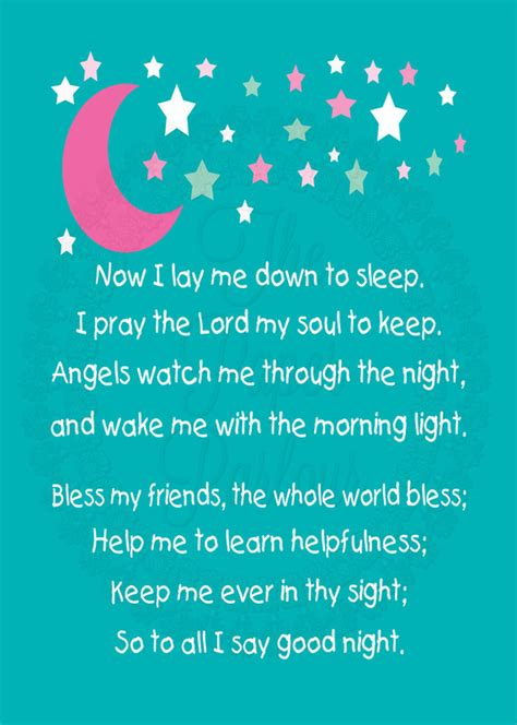 bed time prayers children s bedtime prayer nursery children s room art