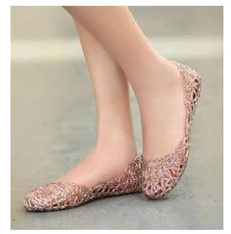 plastic flat shoes shiny hollow out jelly sandals glitters flower plastic