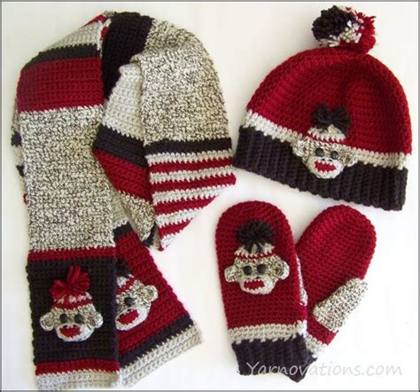 knitting pattern scarf boy sock monkey hat mittens and scarves crochet fun