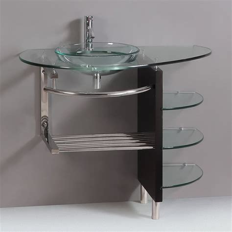 Bathroom Vanities Best Prices Shop Kokols Usa Clear Vessel Single Sink Bathroom Vanity With Tempered Glass And Glass Top