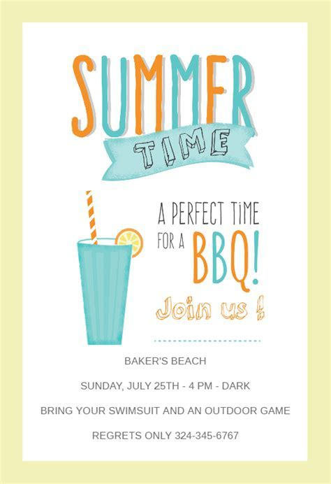 BBQ Time   BBQ Party Invitation Template (Free