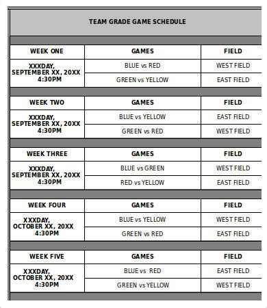 team schedule template 9 free word excel pdf format