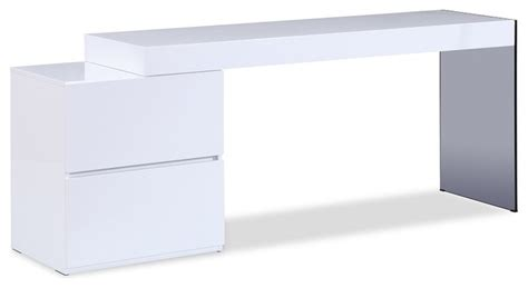 Mia Modern Office Desk In White High Gloss Modern Desks Modern Office Desk White