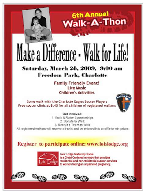 Lois Lodge Maternity Home 6th Annual Lois Lodge Walkathon Walk A Thon Flyer Template