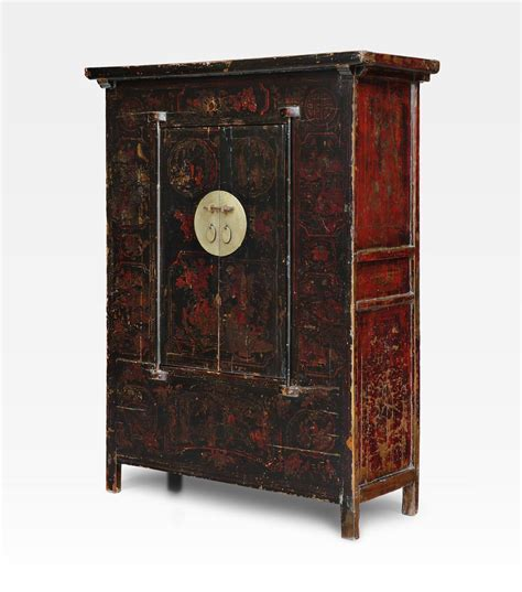 armadio cinese armadio cinese dipinto rosso legno di olmo cod 0013