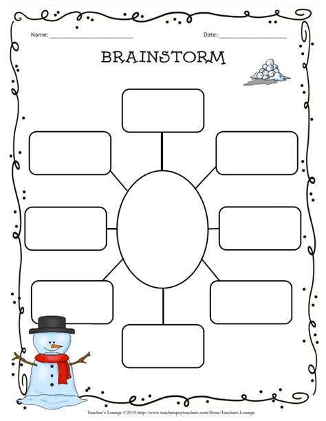 Brainstorm Template s lounge winter themed writing bundle