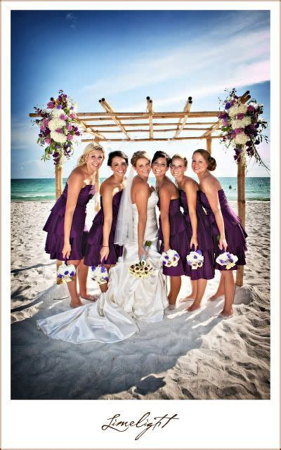 Lido Beach Resort, bride and bridesmaids, purple dresses