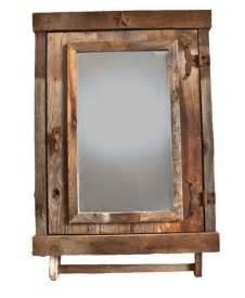 Reclaimed rustic medicine cabinet with mirror bathroom
