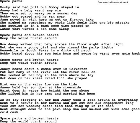 song sections bruce springsteen song spare parts lyrics