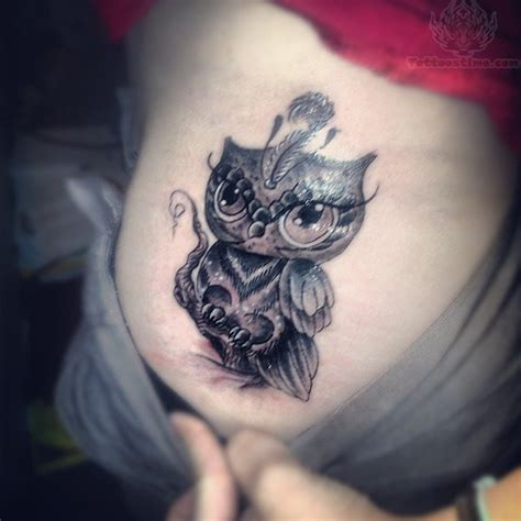 tattoo gallery owls grey ink owl tattoo on lowerback