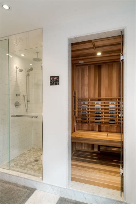 built in sauna interior design bathroom