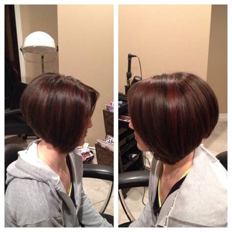 diagnal cut for black women stacked diagonal forward bob with black lowlights and red