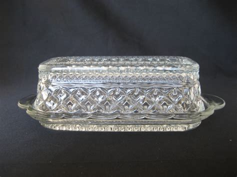Vintage Clear Glass Butter Dish with Lid Covered Retro Glass