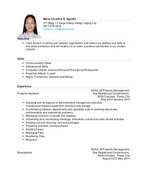 sle resume skills for ojt tourism students resume