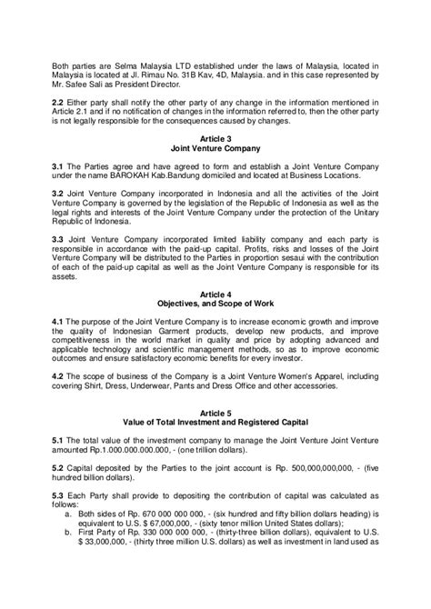 format of joint venture proposal joint venture agreement
