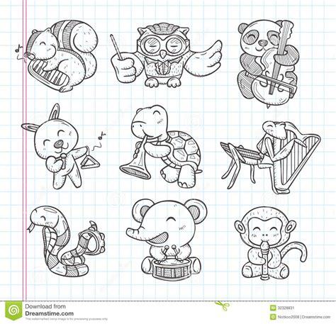 doodle animal music band icons stock vector image 32328831