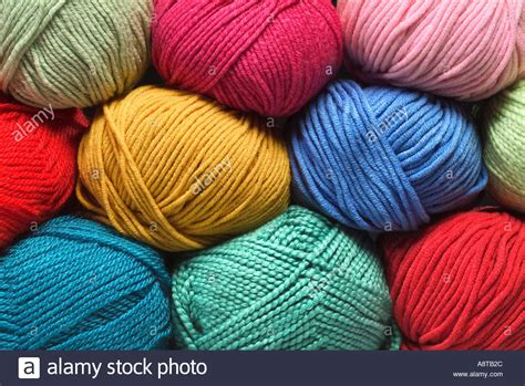 colorful yarns balls of colorful yarn cotton wool synthetic fibers stock