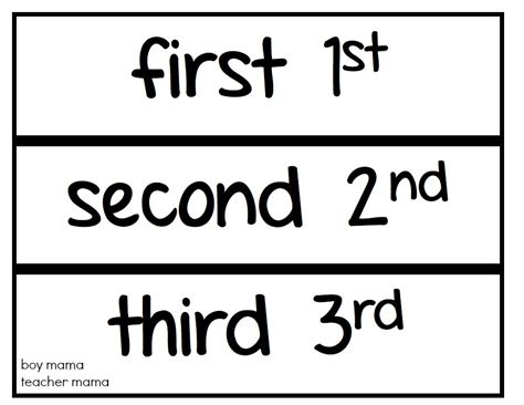 free printable ordinal number cards teacher mama ordinal number practice and after school