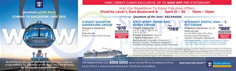 Royal Caribbean Gift Card Discount - royal caribbean roadshow vivocity 21 26 apr 2015