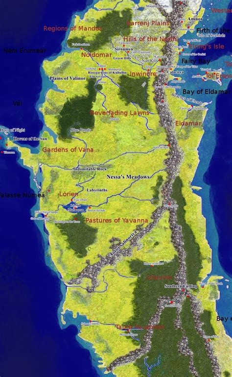image result  map  valinor middle earth map