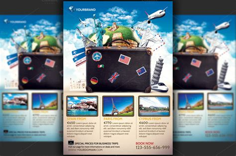 Travel Agency Promotional Flyer Temp Flyer Templates On Creative Market Travel Flyer Template Free
