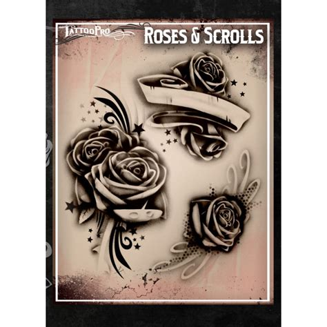 rose tattoo with scroll pro roses scrolls facepaint