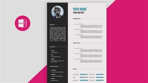 cv design tutorial cv resume template design tutorial with microsoft word