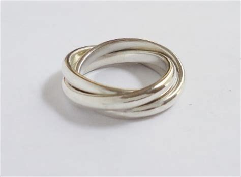 co sterling silver 3 band interlocking rings