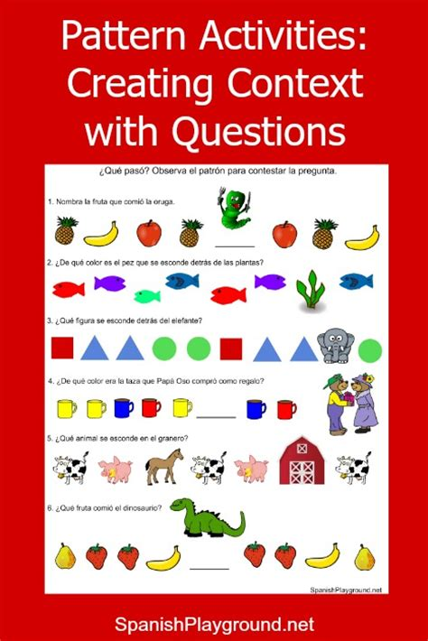 pattern learning games pattern games creating context spanish playground
