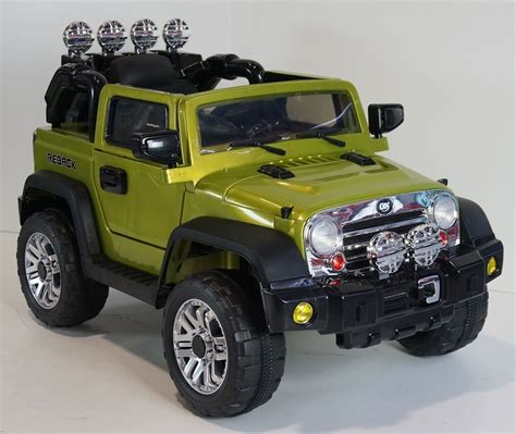 jeep car green ride on car jeep wrangler style remote control 12volts