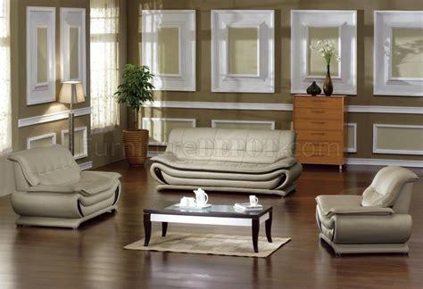 Beige Leather Living Room Set Beige Bonded Leather Modern Stylish 3pc Living Room Set