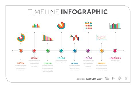 flat timeline infographic template vector download