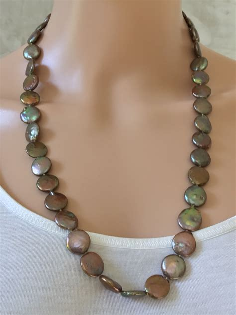 brown bead necklace brown flat bead necklace