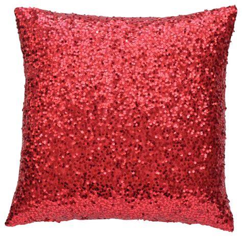 Red Sequin Lumbar Pillow Cover   Contemporary   Decorative