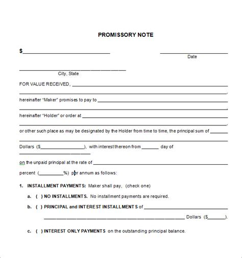 unsecured promissory note template free promissory note templates l vusashop