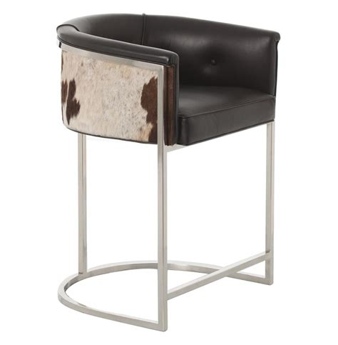 top grain leather bar stools calvin top grain black hide leather art deco counter stool