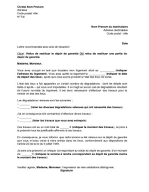 Exemple Lettre Mise En Demeure Restitution Caution Exemple Lettre Non Restitution Caution