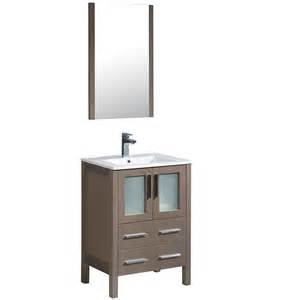 vanity top single sink: fresca potenza  in vanity in gray oak with acrylic vanity top in
