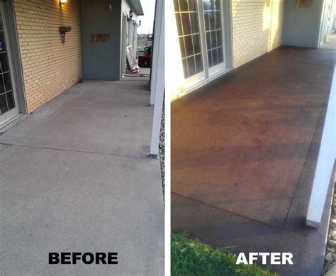 How Should A Concrete Patio Be by Front Porch Stained Concrete A Definate Must For