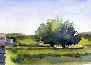 Watercolor landscape fruit trees early spring painting