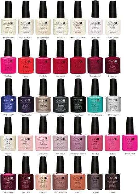 shellac colors chart cnd shellac nail color chart best nail designs 2018